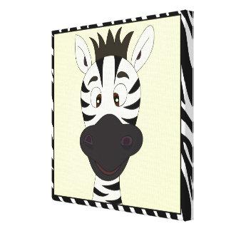 Funny zebra cartoon kids canvas print