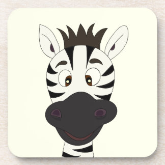 Funny zebra cartoon yellow kids coasters