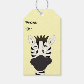 Funny zebra cartoon yellow kids gift tags