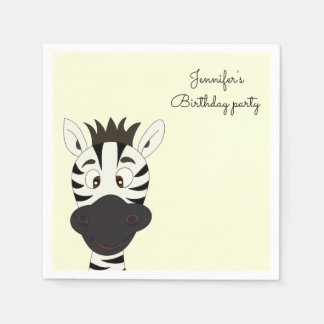 Funny zebra cartoon yellow kids name birthday paper napkins