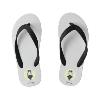 Funny zebra cartoon yellow name kids slippers flip flops