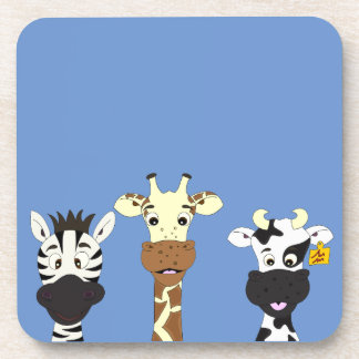 Funny zebra giraffe cow cartoon blue kids coasters