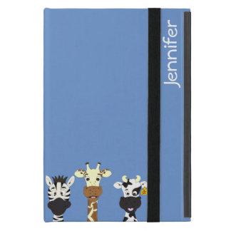 Funny zebra giraffe cow cartoon blue kids iPad mini cases