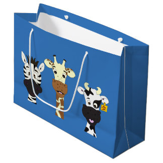 Funny zebra giraffe cow cartoon blue kids large gift bag