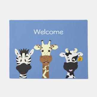 Funny zebra giraffe cow cartoon doormat