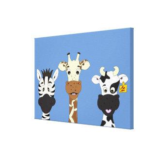 Funny zebra giraffe cow cartoon kids canvas canvas print