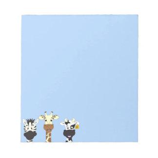 Funny zebra giraffe cow cartoon kids notepad