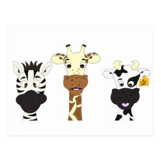 Funny zebra giraffe cow cartoon kids postcard