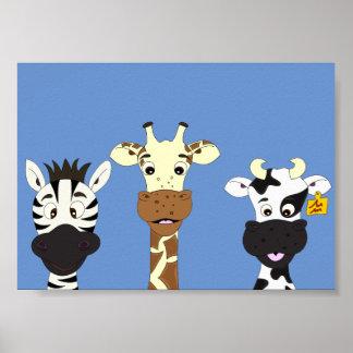 Funny zebra giraffe cow cartoon kids poster