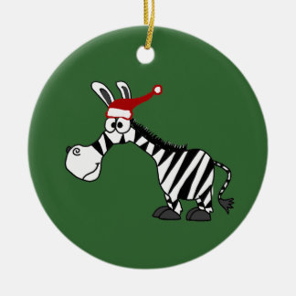 Funny Zebra in Santa Hat Christmas Cartoon Christmas Ornament