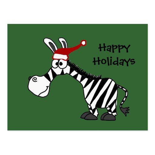 Funny Zebra in Santa Hat Christmas Cartoon Postcards