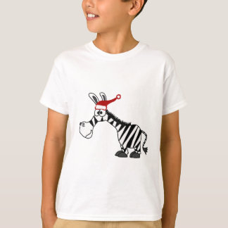 Funny Zebra in Santa Hat Christmas Cartoon T-Shirt
