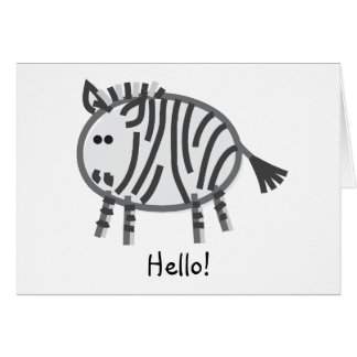 Funny Zebra on White Greeting Card