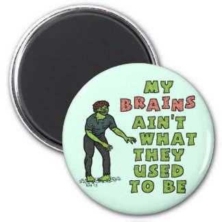 Funny Zombie Brains Old Age 6 Cm Round Magnet