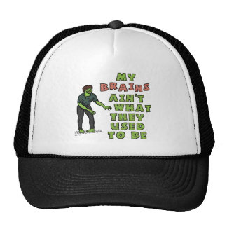 Funny Zombie Brains Old Age Cap