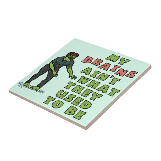 Funny Zombie Brains Old Age Small Square Tile