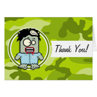 Funny Zombie; bright green camo, camouflage Card