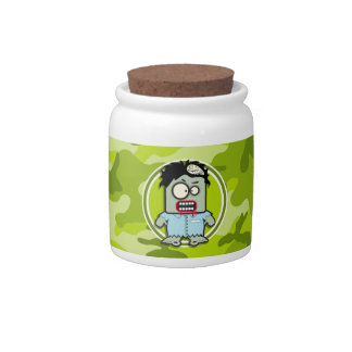 Funny Zombie; bright green camo, camouflage Candy Jar