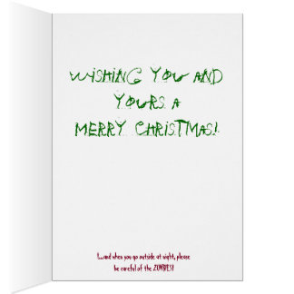 Funny ZOMBIE Christmas Holiday Greeting Card