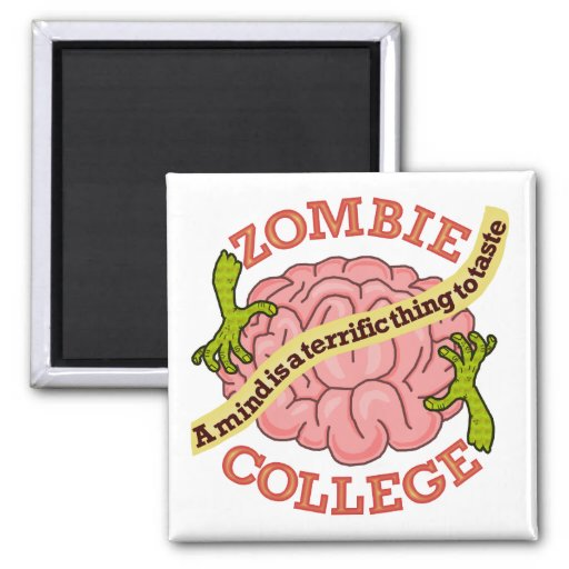 Funny Zombie College Logo Magnet