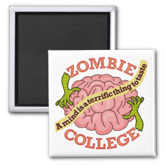 Funny Zombie College Logo Square Magnet