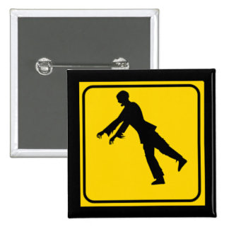 Funny Zombie Crossing Sign Pins
