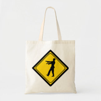 Funny Zombie Crossing Sign Tote Bags