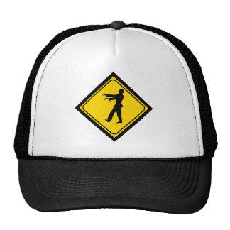 Funny Zombie Crossing Sign Trucker Hat