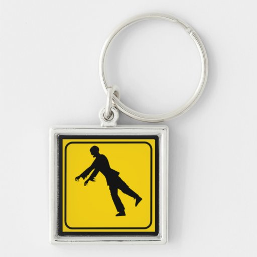 Funny Zombie Crossing Sign Key Chain