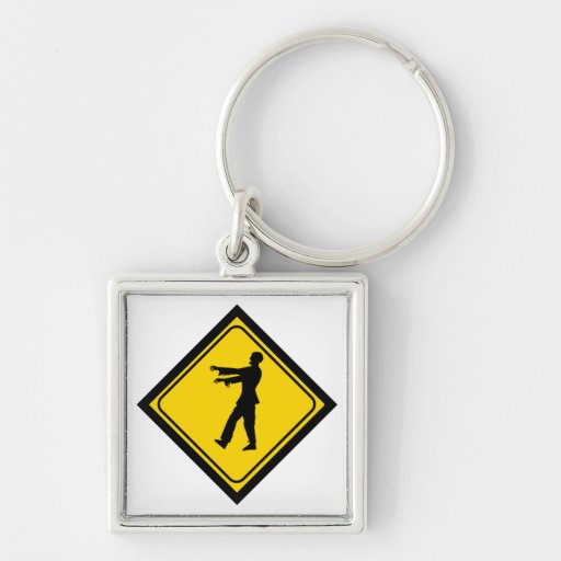 Funny Zombie Crossing Sign Key Chains