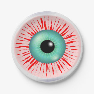 Funny zombie eye paper plate