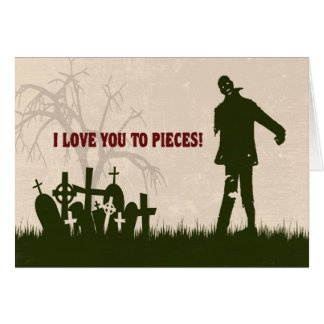 Funny Zombie in Cemetery Valentine's Day Card