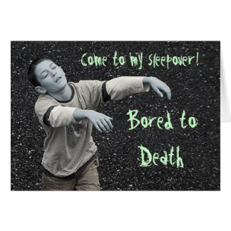 Funny Zombie Sleepover Party Greeting Card