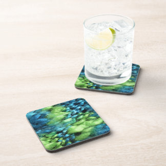FunnyPhoto Blue&Green Knitted Pattern Coaster
