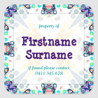 Funtimes Property Bookplate Square Label Sticker