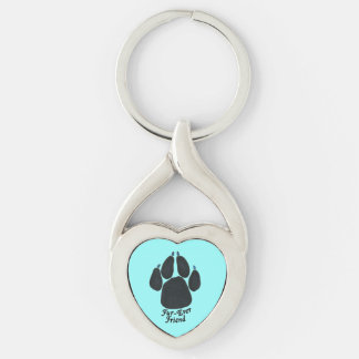 """""""Fur-ever Friend"""" Dog Key Chain Silver-Colored Twisted Heart Key Ring"""