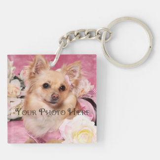 Fur Ever My Furry Friend Photo Double-Sided Square Acrylic Key Ring