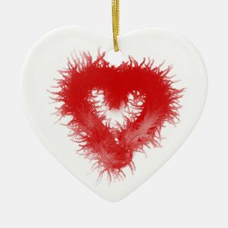 Fur heart furry heart christmas tree ornament