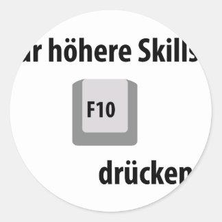 Für höhere Skills F 10 drücken counter strike icon Round Stickers