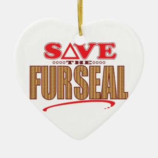 Fur Seal Save Ceramic Heart Decoration