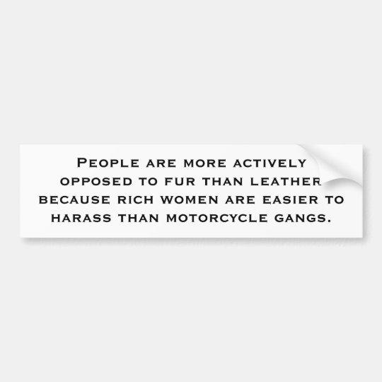 Fur Vs. Leather Bumper Sticker