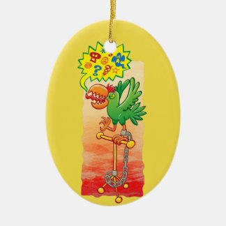 Furious green parrot saying bad words christmas ornament