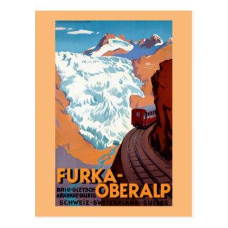 Furka Oberalp Swiss Railway Vintage Poster Postcard