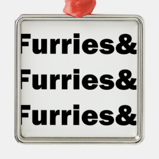 Furries& Silver-Colored Square Decoration