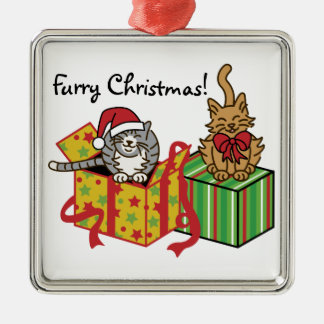 Furry Christmas! Silver-Colored Square Decoration