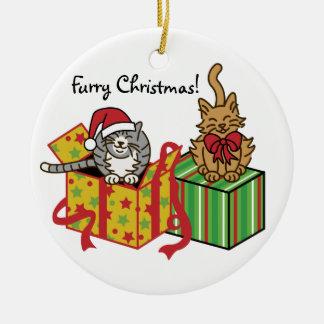 Furry Christmas! Round Ceramic Decoration