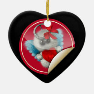 Furry Cupid Ceramic Heart Decoration