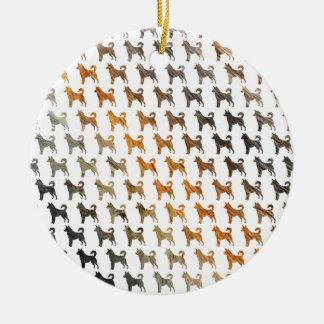 Furry Dogs Round Ceramic Decoration