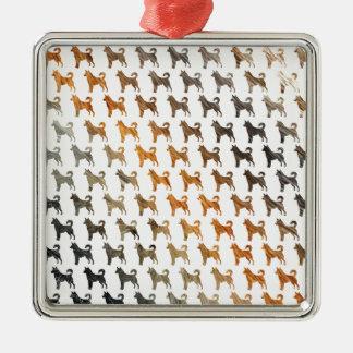 Furry Dogs Silver-Colored Square Decoration