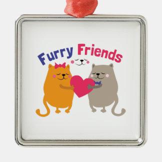 Furry Friends Silver-Colored Square Decoration